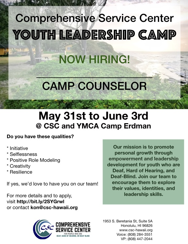 CSC Youth Leadership Camp Hiring Flyer