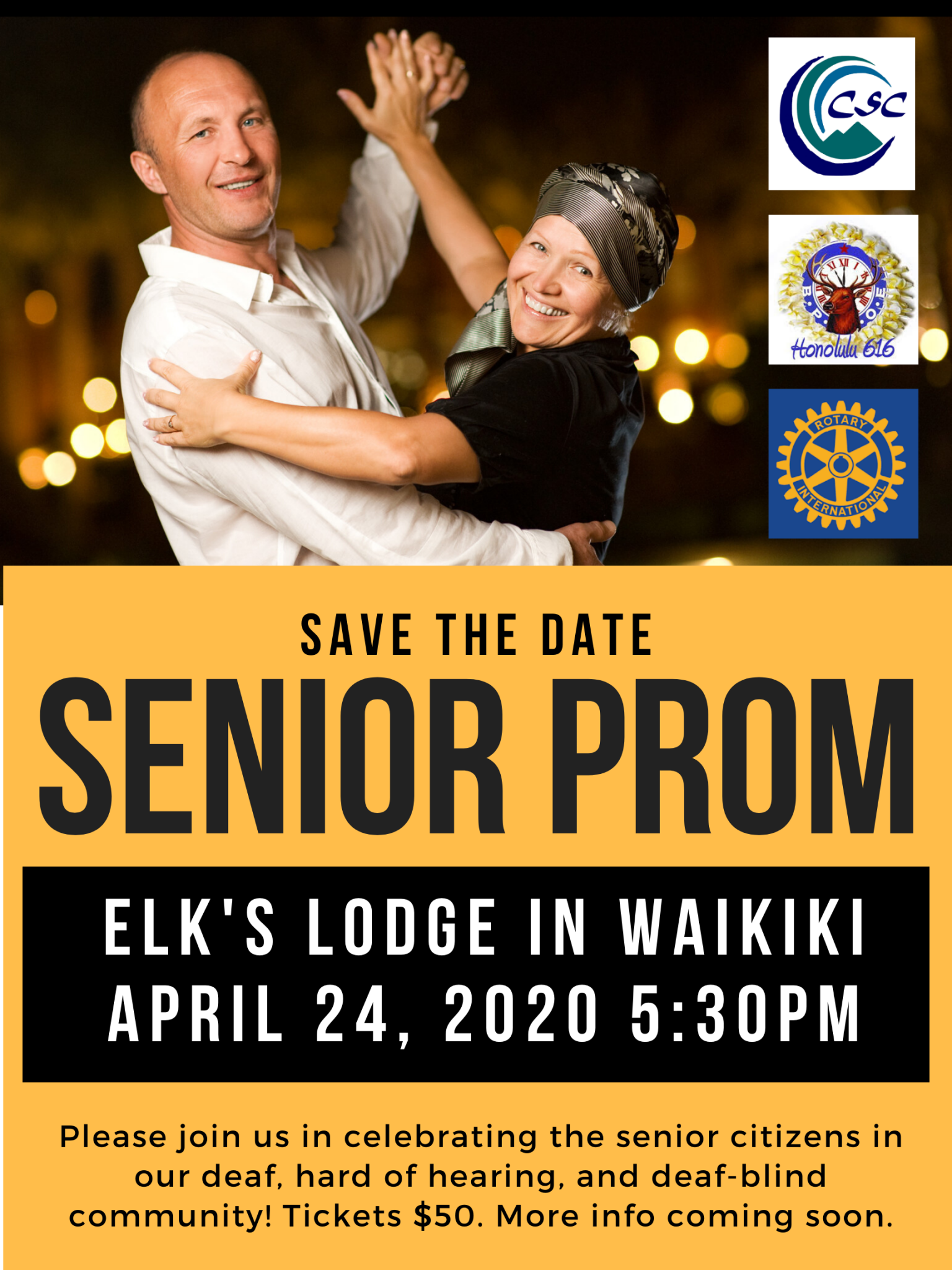Flyer for Senior Prom 4/24 5:30 pm Elk's Club $50