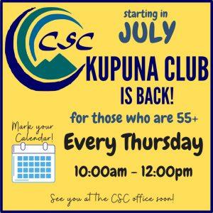 Kupuna Club is Back